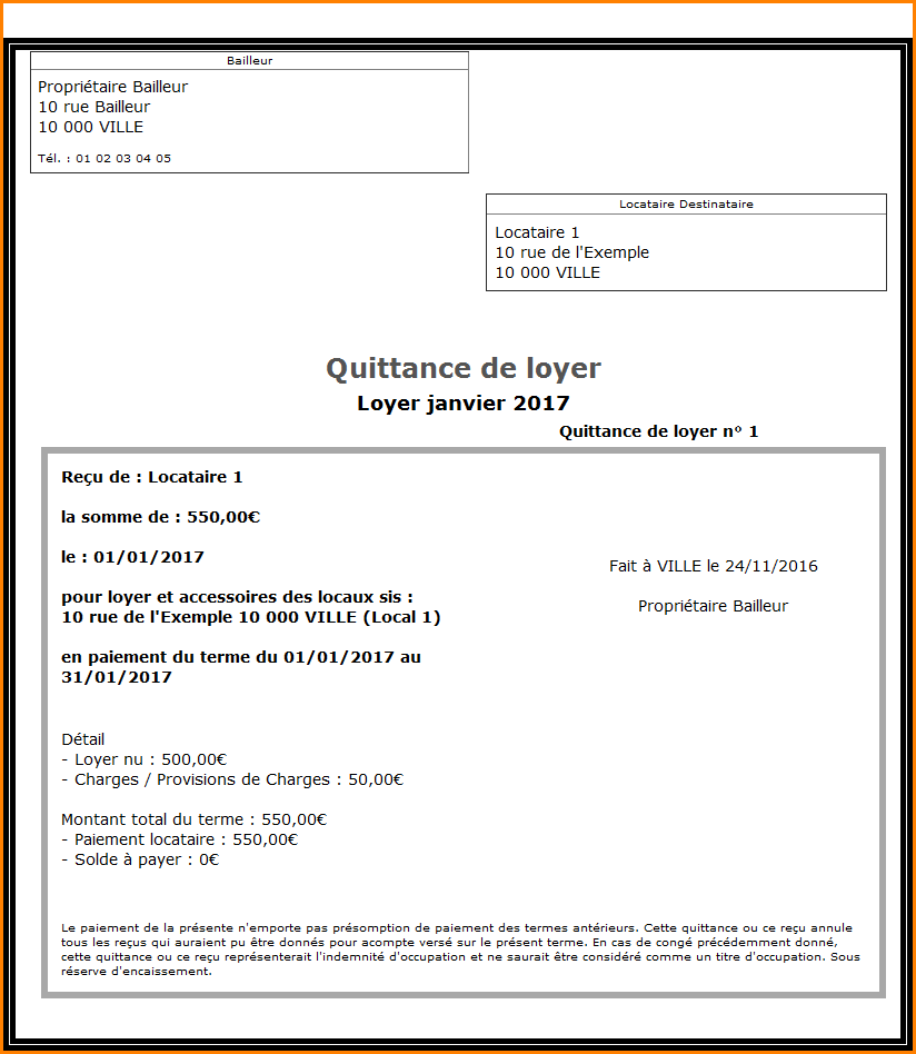 8+ exemple quittance de loyer | lettre de demission | Faire