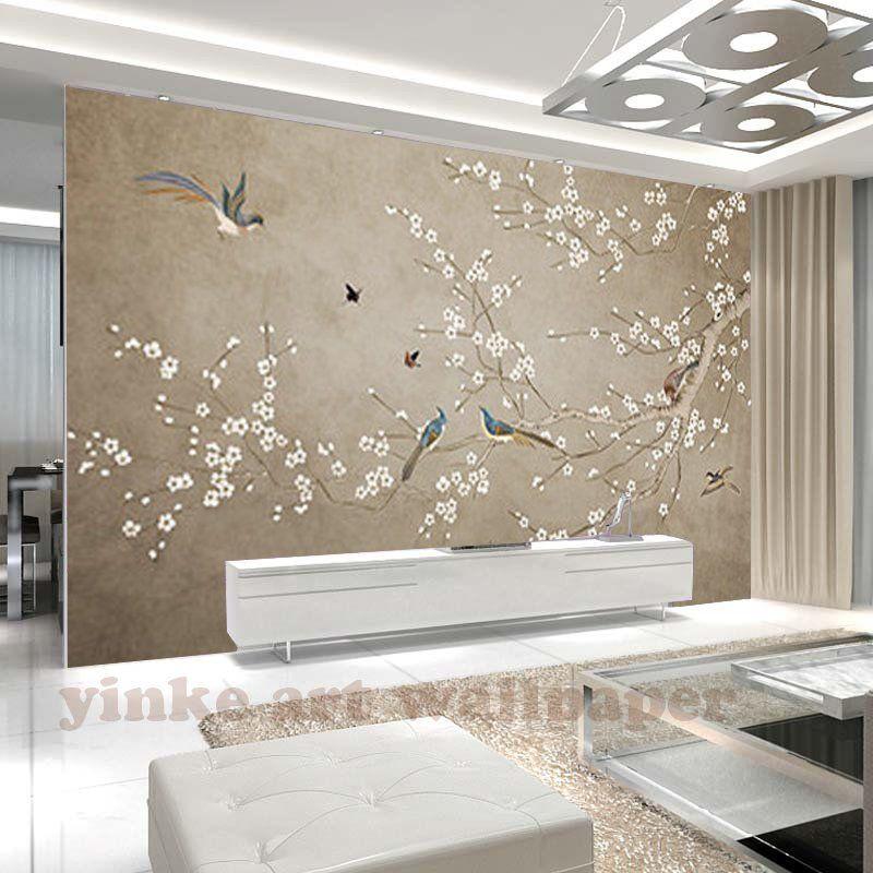 Bella pennellata cineserie ciliegio tappezzeria murale