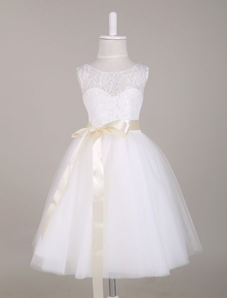 14cccc75af6 White Flower Girl Dress Princess Lace Illusion Sweetheart Neckline ...