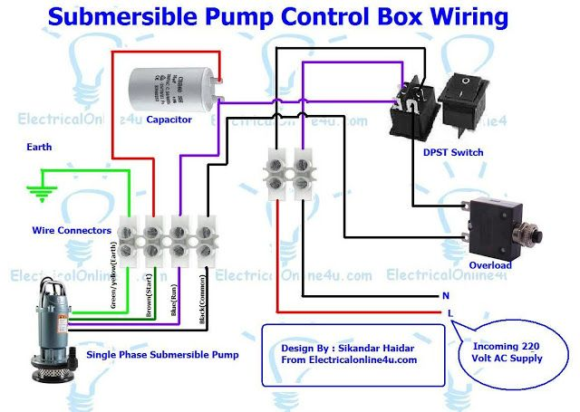 Single Phase 3 Wire Submersible Pump Control Box Wiring Diagram