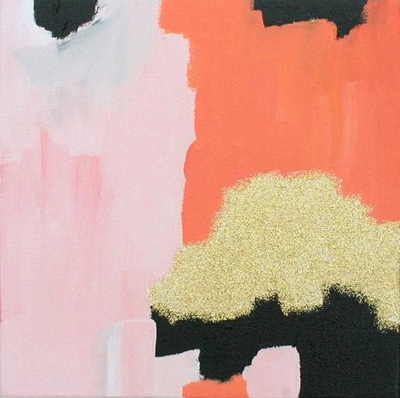 Art/Wall Decor - Pink Coral Gold abstract painting Small by ...