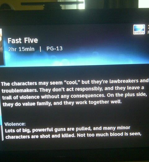 DirecTV description of action movie sounds like it was written by your mom.