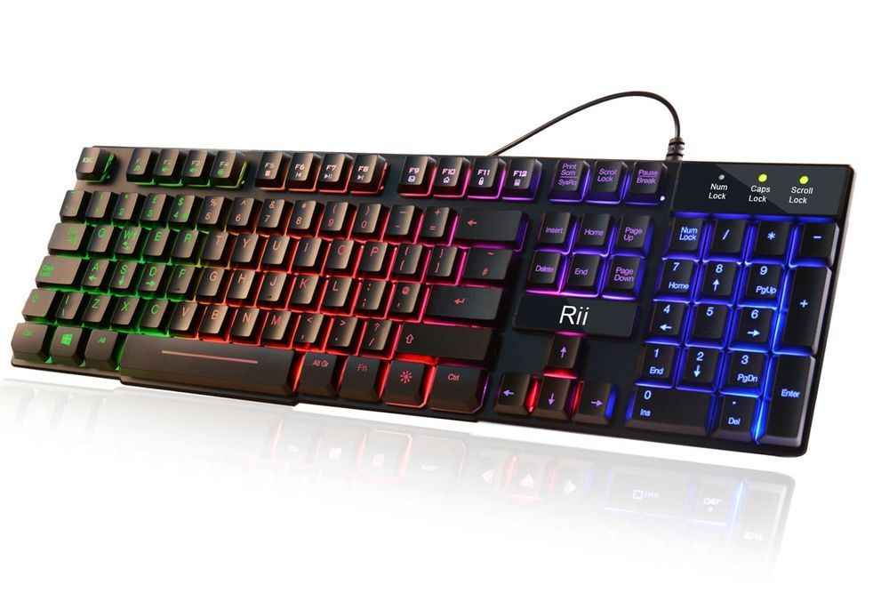 Gaming keyboard usb wired rii rk100 7 color led rgb