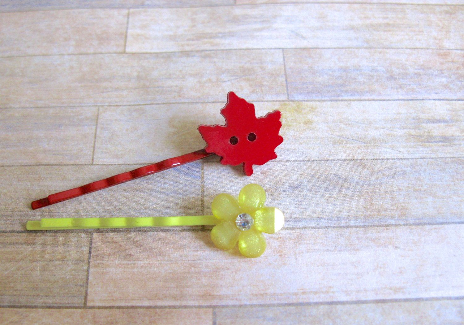 Flower Hair Clip, Leaf Hair Clip, Bow Hair Clip, Red Leaf, Yellow Flower, Orange Bow Hair Clip, Fall Hair Accessories by EyeCandiByCandi on Etsy