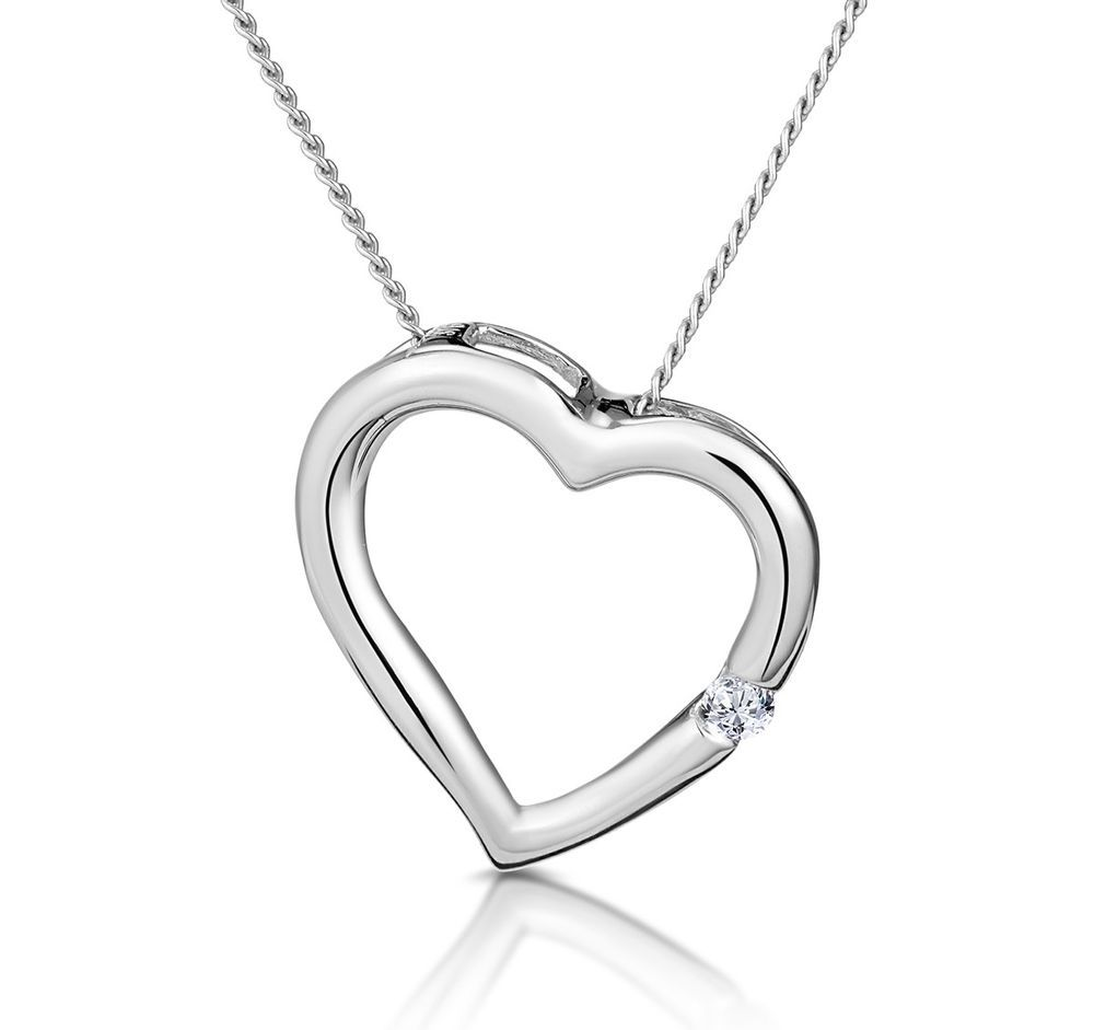 Valentines day solid sterling silver round heart white pendant