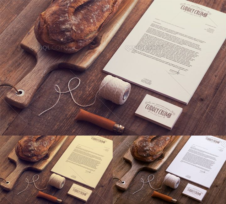 A stationery mock up for bakery with 2 vintage effects. You can easily add your design via smart-object.