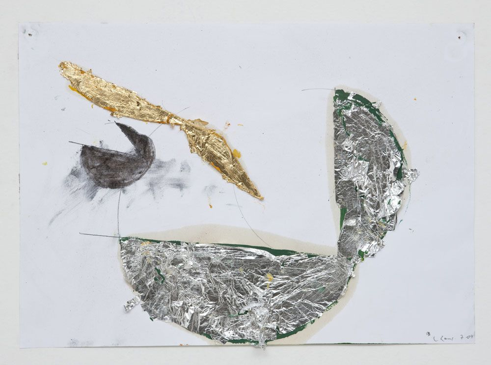 "Nuno Ramos, ""Untitled"", 2009, Series: Plato, Gold leaf, silver leaf, graphite, charcoal and oil paint on paper, 6.3 x 11.4 in. Image courtes..."