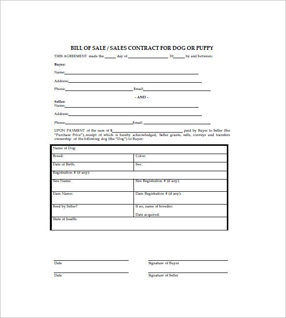 Dog Bill of Sale Template \u2013 8+ Free Word, Excel, PDF Format Download - free bill of sale template word