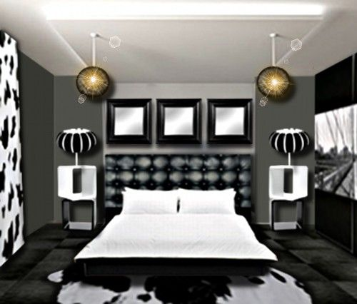 Awesome Chambre Mur Gris Meuble Noir Photos - Design Trends 2017 ...