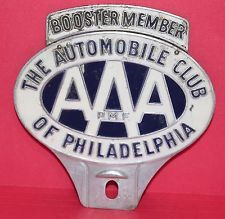 AAA Auto Club of Philadelphia License Plate Topper Plymouth Dodge Ford Chevy VW