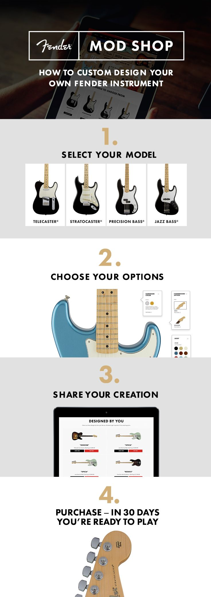 how to custom design your own fender instrument just follow these easy steps new from. Black Bedroom Furniture Sets. Home Design Ideas