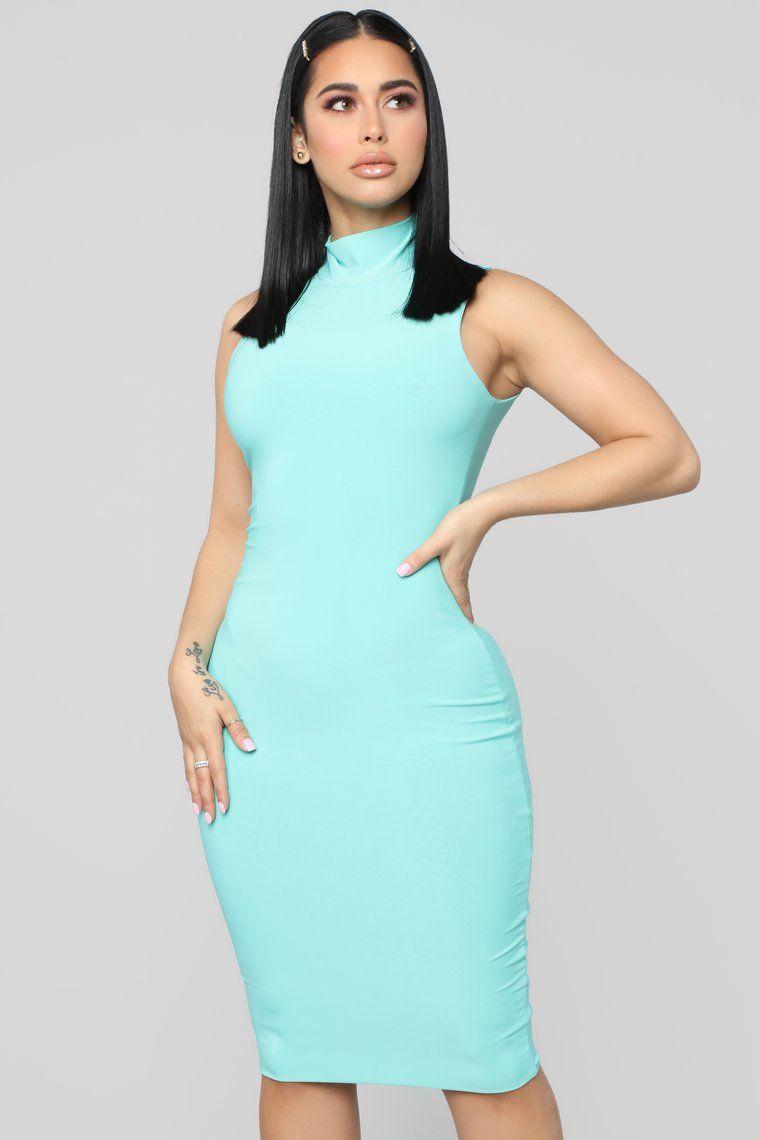 Hug Your FN Body Midi Dress - Mint, 2020