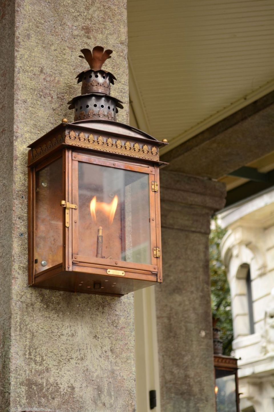 English Regency Flush Mount Copper Lighting Porch Lamp Gas Lanterns