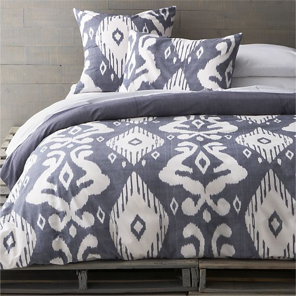 ikat chambray bed linens in all decorative bedding crate and barrel - Crate And Barrel Bedding