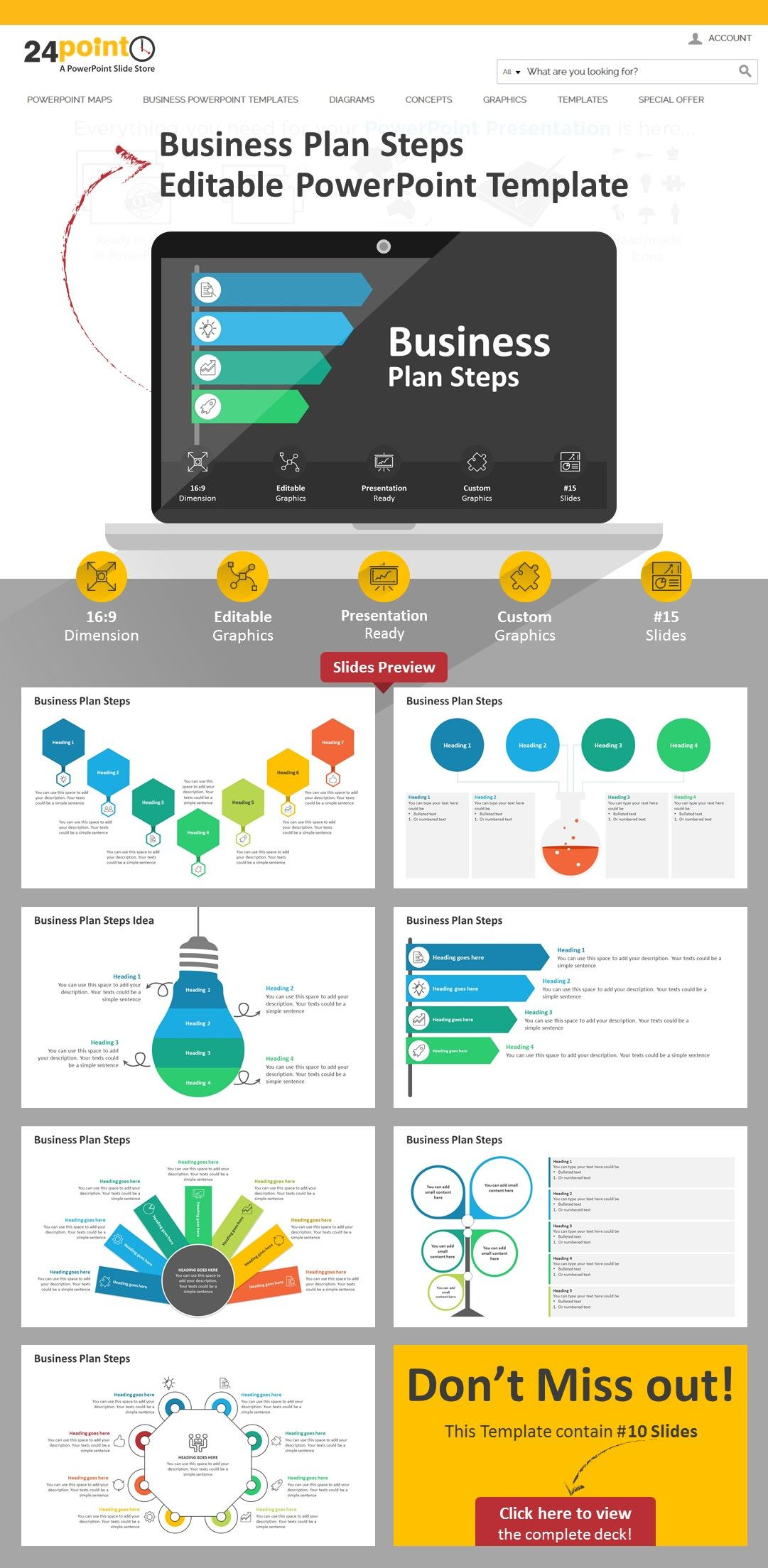 Business Plan Steps PowerPoint Graphics Workflow