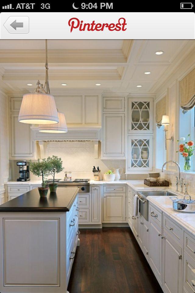 White Kitchen Pretty Glass Cabinet Doors Dark Wood Floor