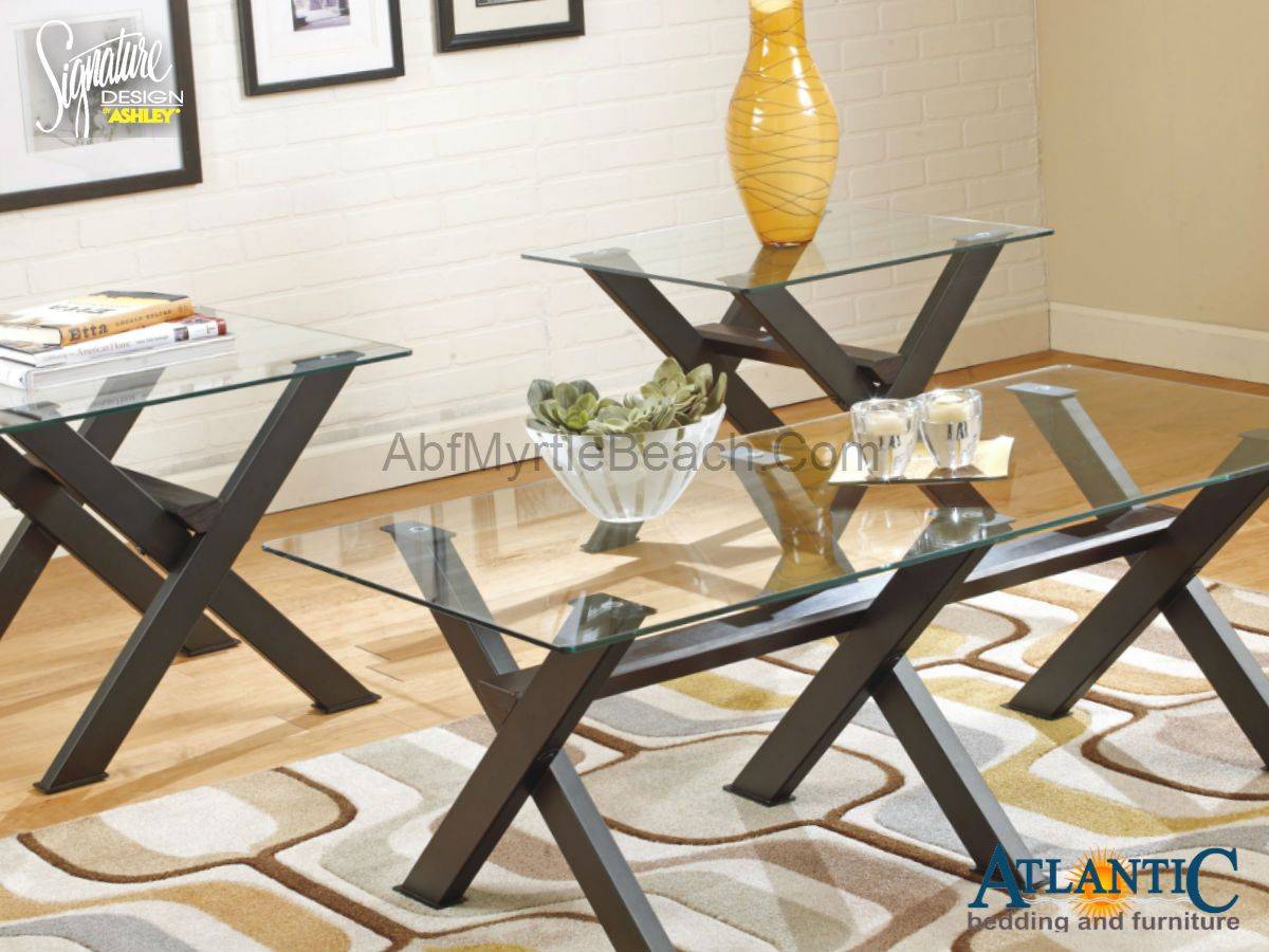 The Ashley T211 13 Dirteck 3 Pc Table Set Table Base Is Made With Tubular Metal With Slate Coffee Table Contemporary Glass Coffee Tables Coffee And End Tables [ 900 x 1200 Pixel ]