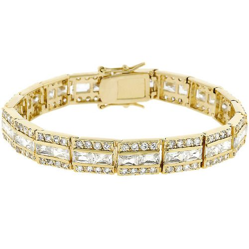 This ELEGANT bracelet is fashioned in lustrous goldtone and 3 rows of mixed shimmer! This bracelet lends SASSY tones to classic refinement! 14 kt Gold Bonded with Round Cut Clear Cubic Zirconia in a Channel Setting and a Box Clasp. VERY PRETTY !!     14 kt Bonded Gold is achieved using an electroplating process that coats the item with heavy layers of 18 kt Yellow Gold and color-treated to a perfect 14 kt Hamilton gold color.     Thanks for looking!