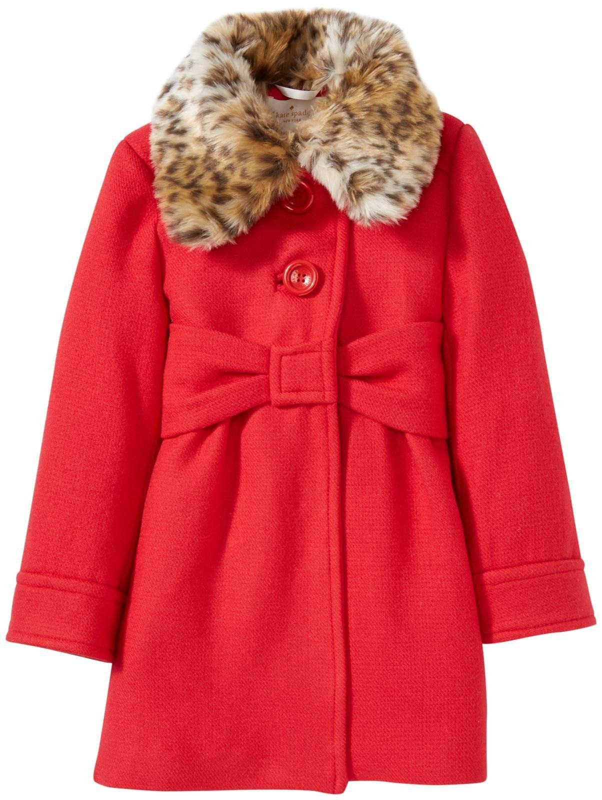 59144a23592f kate spade new york Little Girls' Faux Fur Collar Coat (Toddler/Kid)-Fairytale  Red-4