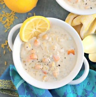 Creamy Lemon Orzo Soup (Vegan) is inspired by both Greek Avgolemono and chickpea noodle soup. It's hearty, comforting, and easy to make in 30 minutes. #creamylemonorzosoup #vegan #veggiessavetheday #chickpeanoodlesoup Creamy Lemon Orzo Soup (Vegan) is inspired by both Greek Avgolemono and chickpea noodle soup. It's hearty, comforting, and easy to make in 30 minutes. #creamylemonorzosoup #vegan #veggiessavetheday #chickpeanoodlesoup