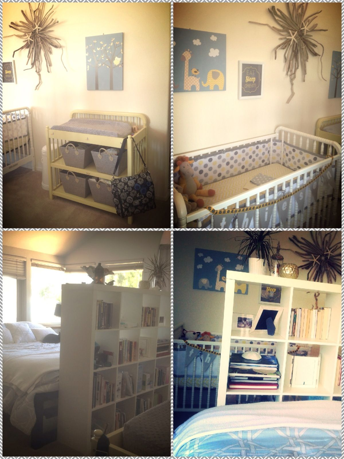 Yellow and gray master bedroom nursery divided up our for Master bedroom with crib ideas