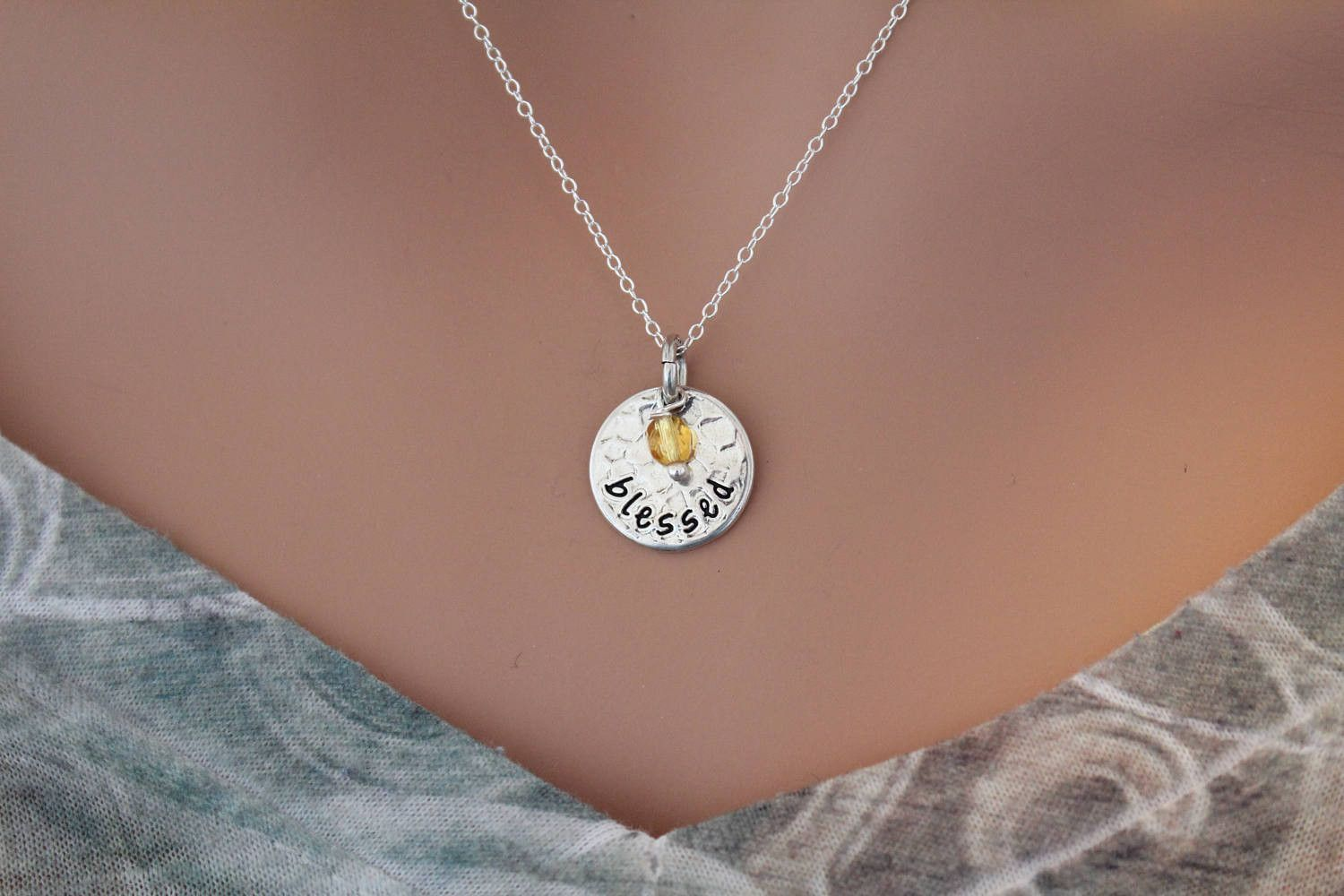 Blessed Charm Necklace with Yellow Crystal Bead Necklace