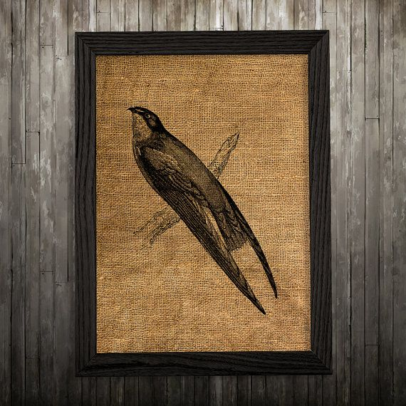 Swallow print. Bird poster. Animal decor. Burlap print.  PLEASE NOTE: this is not actual burlap, this is an art print, the image is printed on art