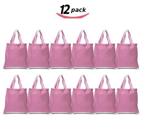 22291244dadd BagzDepot Canvas Tote Bags Wholesale - 12 Pack - Plain Cotton Tote ...