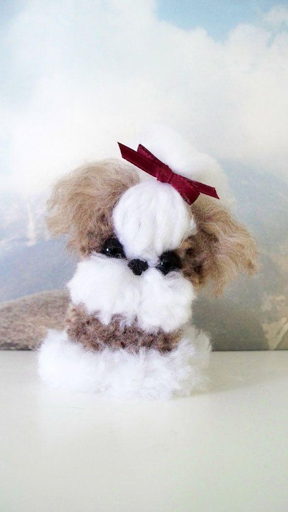 Shih tzu yarn pom pom puppy by yuriandyanvar on etsy dog for Pom pom puppy craft