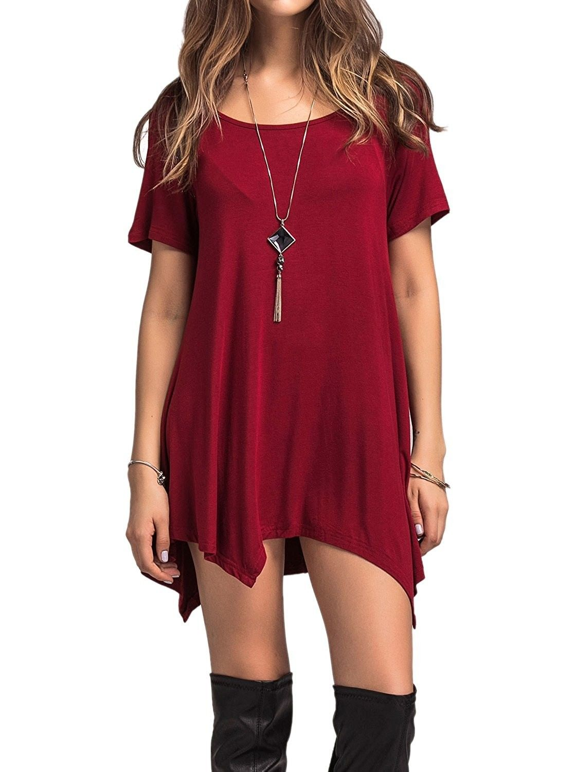 5763d1525e3a Women's Scoop Neck Loose Fit Flowy Tunic Top - Burgundy - CV184Z4M8OT, Women's Clothing, Tops & Tees, Tunics #women #fashion #clothing #style  #sexy #outfits ...