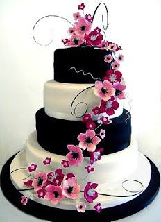 Beautiful hot pink, black, white wedding cake. Love the cascading ...