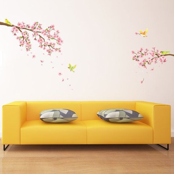 Decowall, DW-1303, Cherry Blossoms and Birds Wall Stickers | Cherry ...