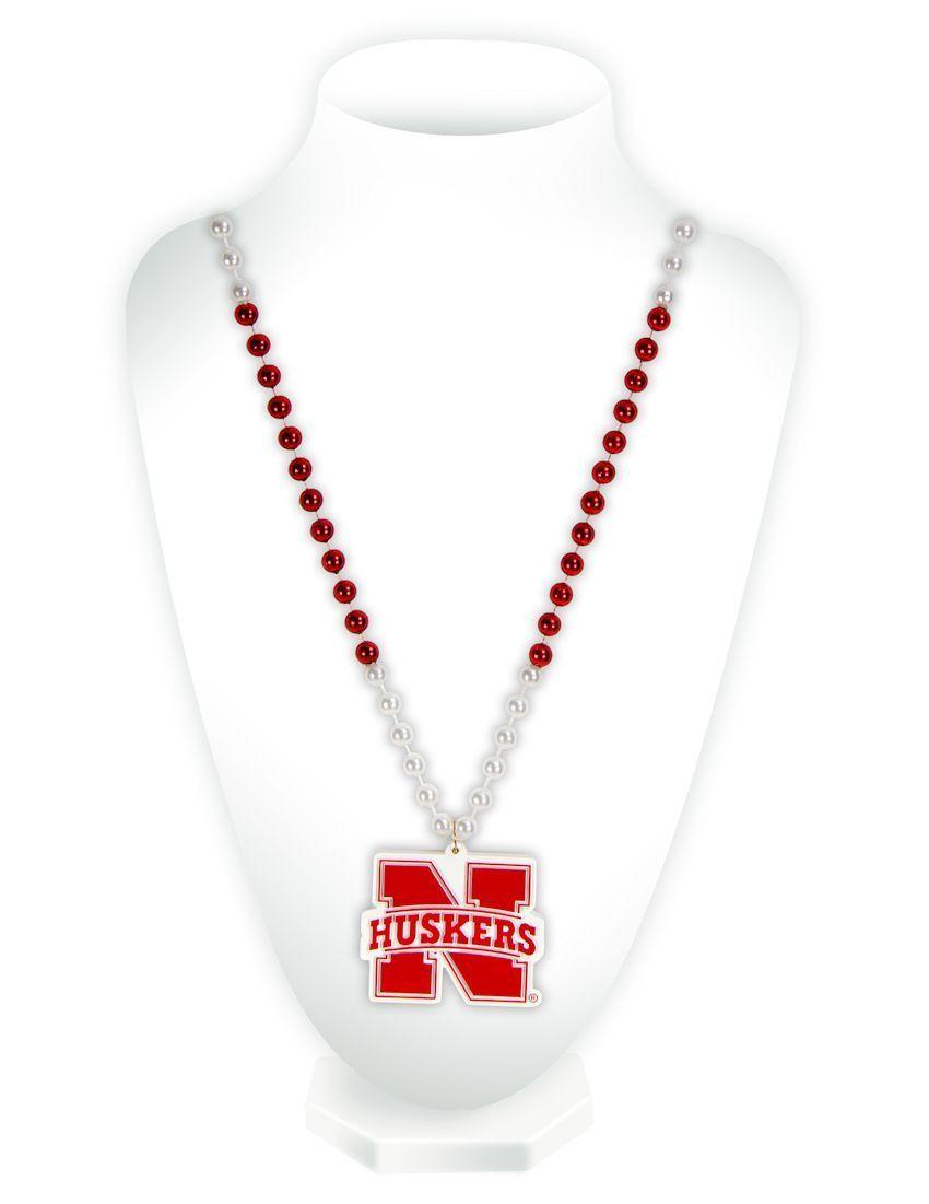 Nebraska Cornhuskers Mardi Gras Beads with Medallion