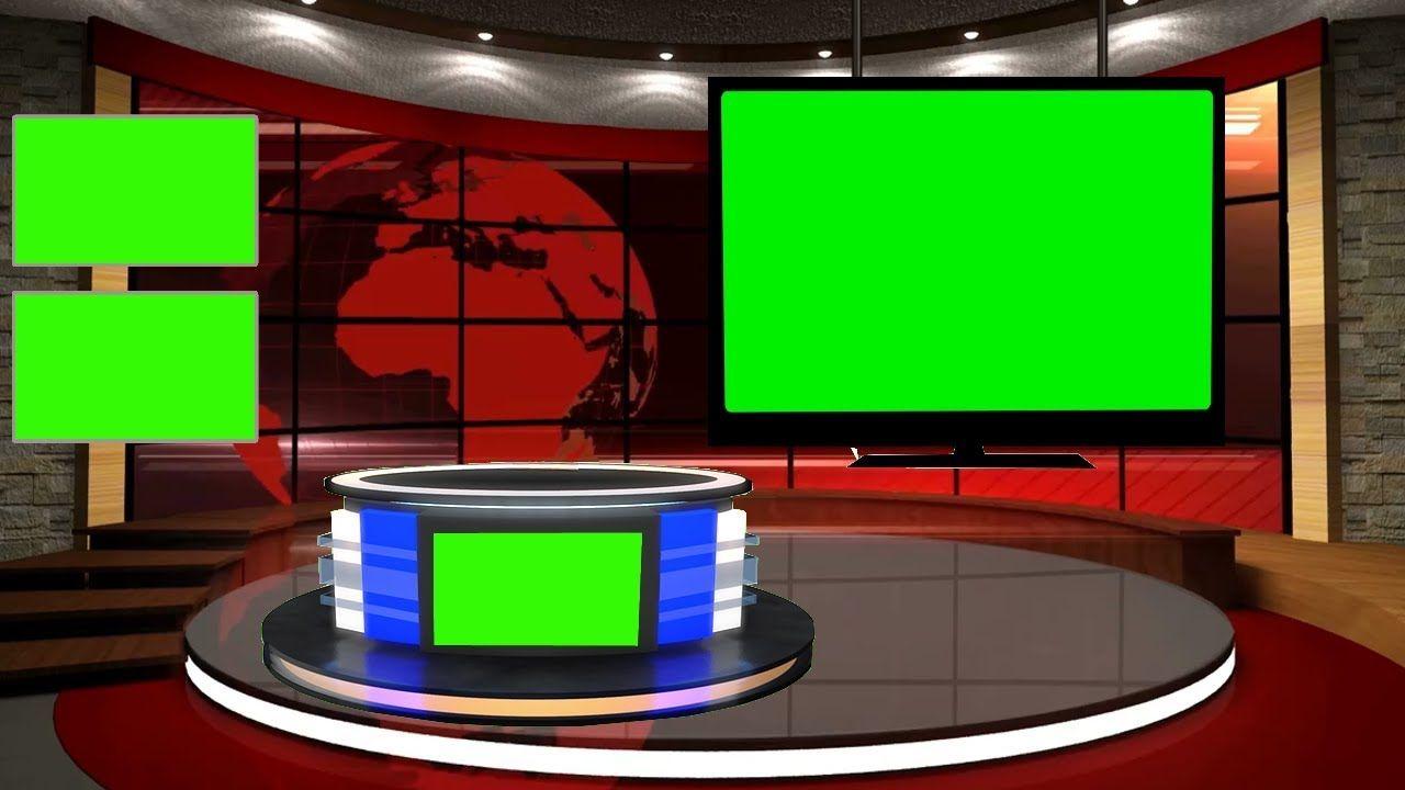 Free Green Screen News Studio With Desk News Tv Set 2019 Free Green Screen Green Screen Backgrounds Greenscreen
