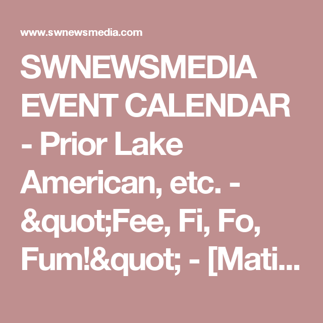 Swnewsmedia Event Calendar  Prior Lake American Etc  Fee Fi