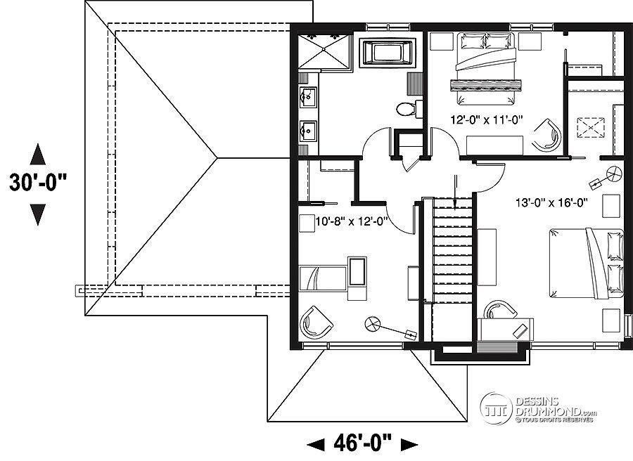 Détail du plan de Maison unifamiliale W3726-V1 house plan - plan de maison design