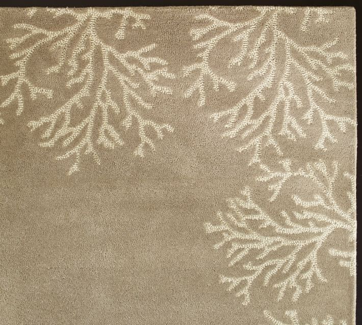 Pottery Barn Coral Bordered Rug Neutral 5x 8 Beige