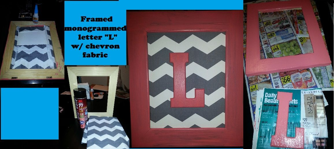 Hobby Lobby Wooden Unpainted Frame Wooden Letter Grey Chevron Fabric Foam Board Gorilla Glue Framed Wooden Letters Paint Chevron Diy Projects Gifts