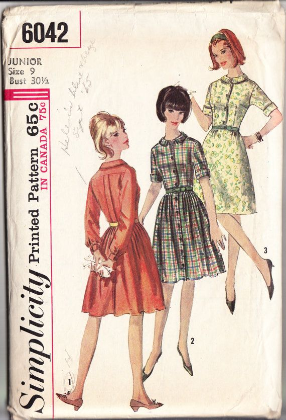 Vintage 1964 Simplicity 6042 Sewing Pattern Junior\'s and Misses\' One ...