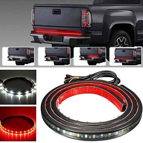 Partsam 60 Red White Tailgate Led Strip Light Bar Truck Reverse Brake Turn Signal Tail For 2003 2012 Dodge Truck Tailgate Pickup Truck Accessories Bed Lights