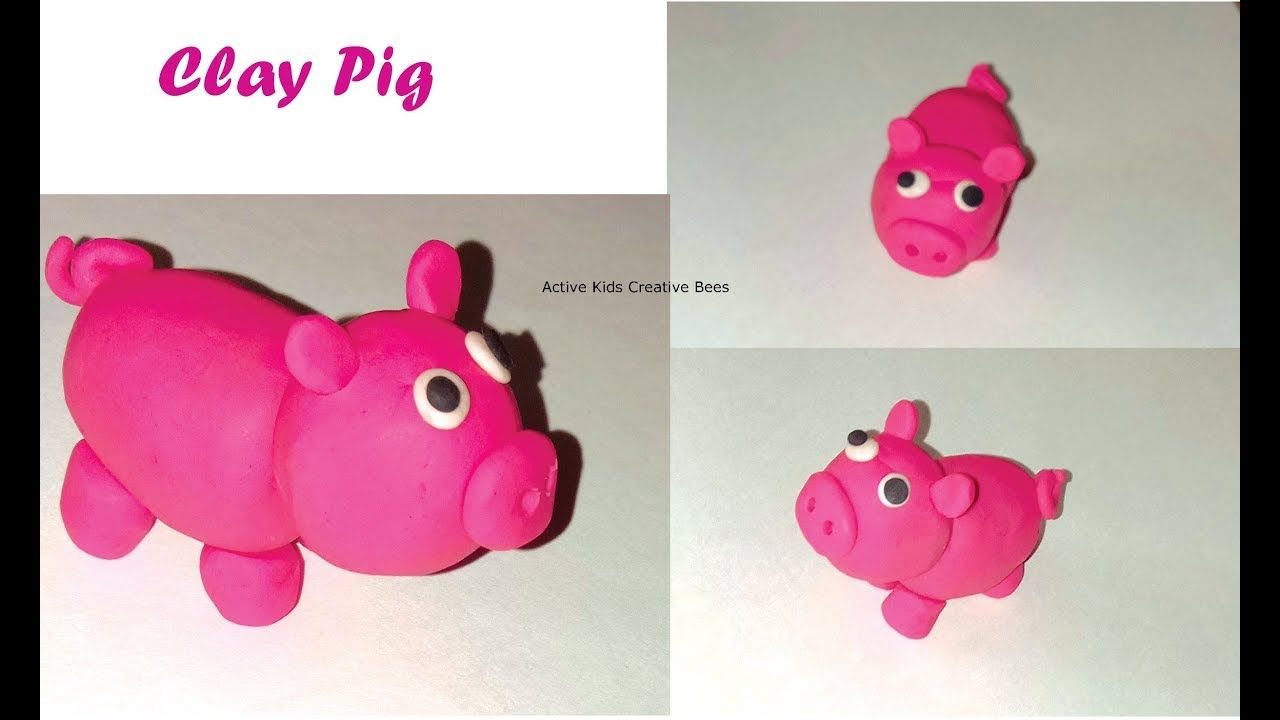How to make clay pig clay toys making for kids clay