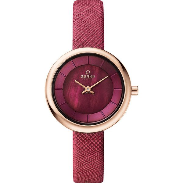 Obaku Watches Womens Leather Watch ($127) ❤ liked on Polyvore featuring jewelry, watches, purple, analog wrist watch, analog watches, purple jewelry, leather jewelry and leather wrist watch