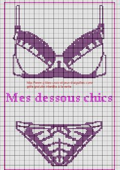 vêtement - garment - lingerie - point de croix-cross stitch - broderie-embroidery- Blog : http://broderiemimie44.canalblog.com/