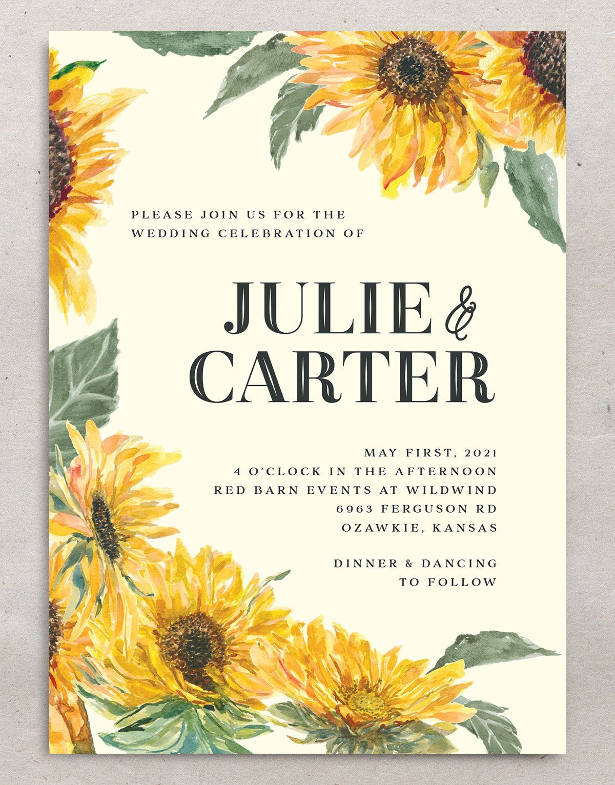 sunflower themed wedding invitations (With images