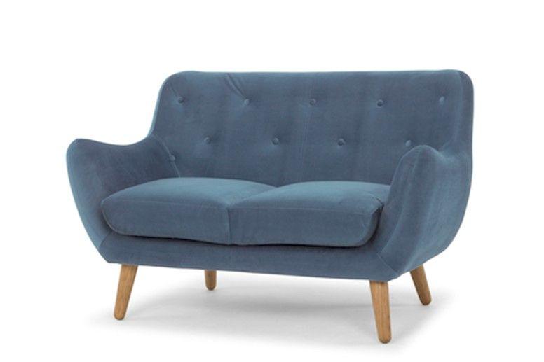 Blue Small 2 Seater Sofa Goodwood Stormy Sky Kennington Sofa