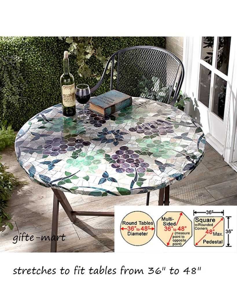 Mosaic Tile Wine Grape Elastic Ed Indoor Outdoor 48 Round Patio Table Cover