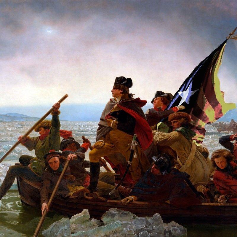 Puigdemont cruzando el Delaware, 1851, Emanuel Leutze.