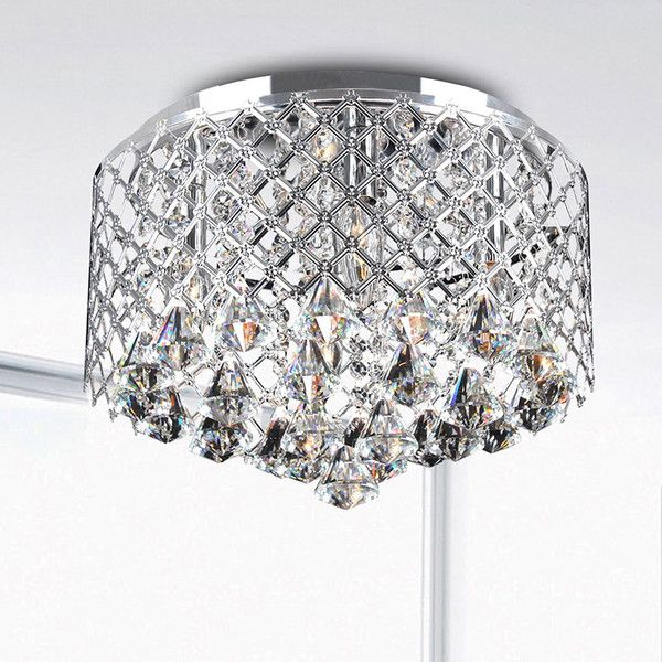 Nerisa chrome crystal flush mount chandelier 101 liked on nerisa chrome crystal flush mount chandelier 101 liked on polyvore featuring home aloadofball Choice Image