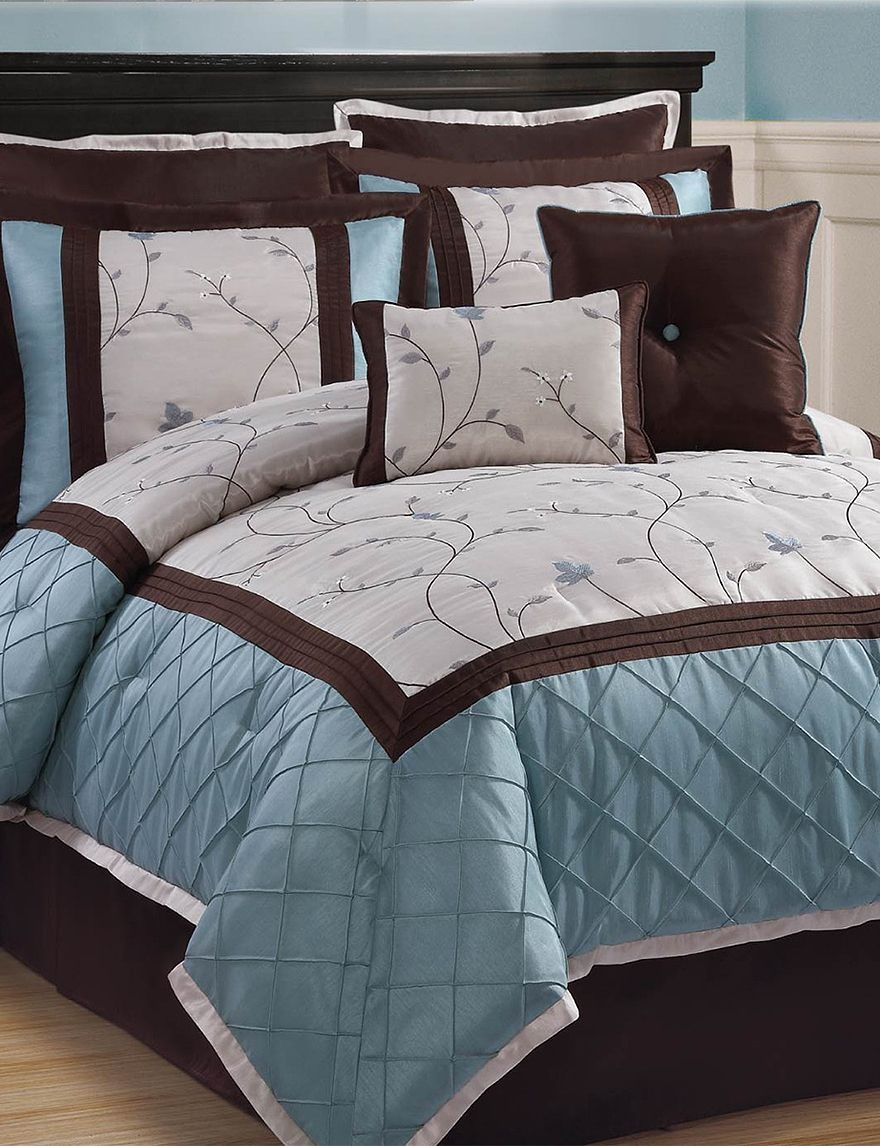 Victoria Classics Alexandria 8pc Blue Brown Comforter Set