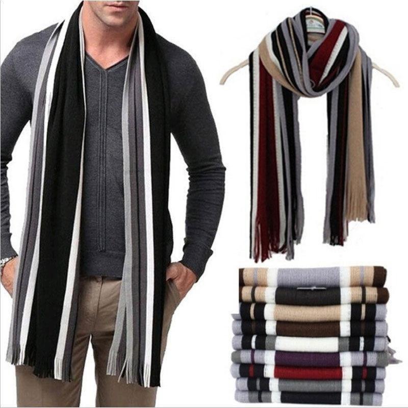 Men/'s Fashion Winter Strip Fringe Tassel Scarf Knitting Soft Long Shawl Scarves